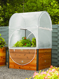 The Elevated Grow Shelter comes complete with materials for a raised bed, greenhouse cover and screening to discourage pests.  Find it through MyPotsandPlanters.com