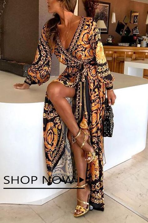 Long Sleeve V-Neck Printed Maxi Dresses 2