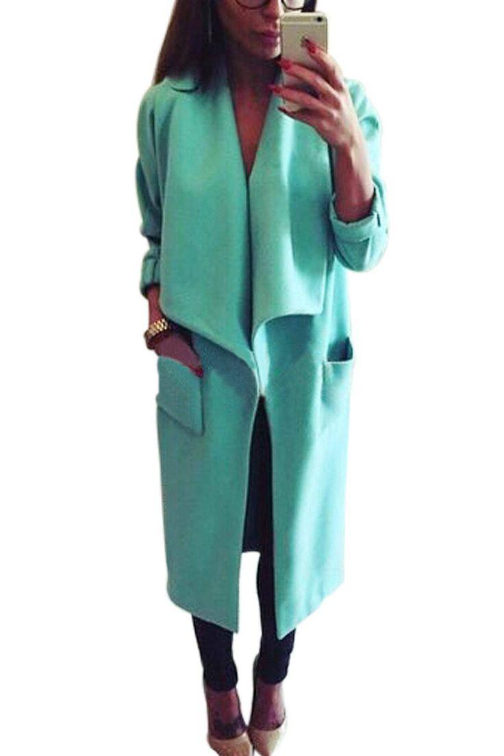 Blue Wide Lapel Pocket Duster Coat  - US$41.95 -YOINS