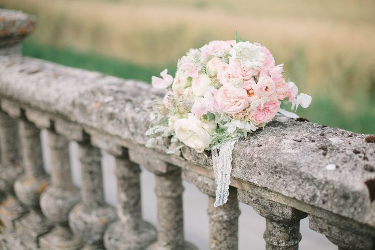 Wedding bouquet, laces and roses, romantic wedding