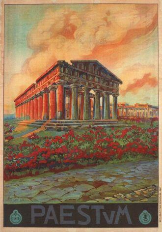 Vintage Travel Poster Paestum Italy