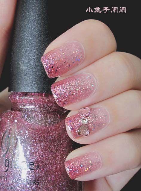 unghie gel nail art sposa rosa con brillantini