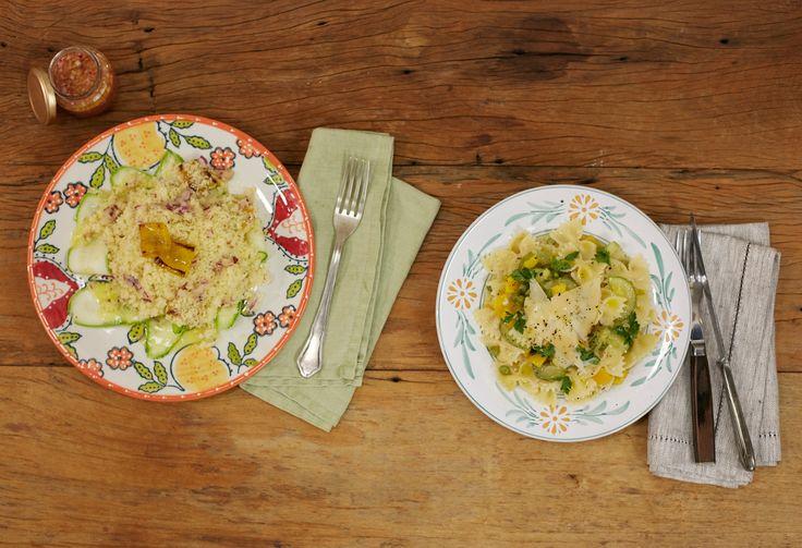 Receitas preparadas pela Rita Lobo no Cozinha Prática: macarrão à primavera em uma panela só e salada de cuscuz marroquino com abobrinha e pimentão