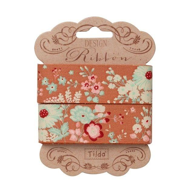 481276 Tilda Ribbon, 25mm, Cabbage Rose - Lucille Ginger