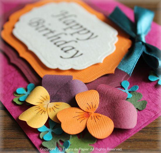 $Fleurs de Papier ~クラフトパンチや花紙で作る立体のお花いろいろ~-クラフトパンチでパンジーの花