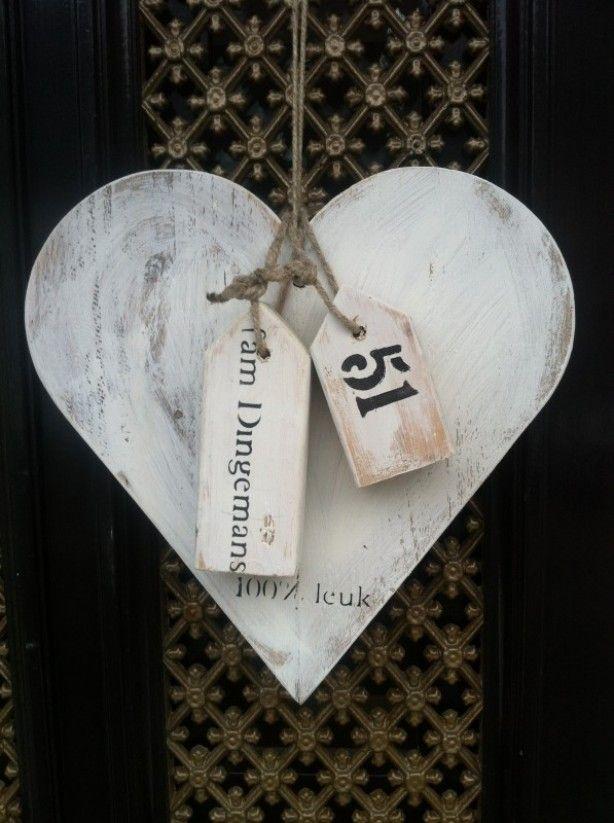 Naambord hart met 2 huisjes van 100% leuk