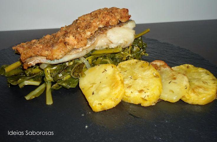 Bacalhau com Crosta de Broa e Alheira em cama de Grelos Salteados