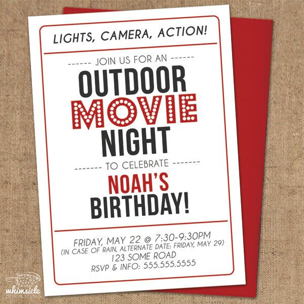 Best 25 Movie night invitations ideas – Movie Night Birthday Party Invitations