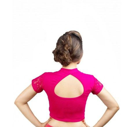 Pink Cotton lycra stretchable nonpadded top/blouse. - Stretchable Lycra & Velvet Blouse - Blouses - Saree,Blouse & more