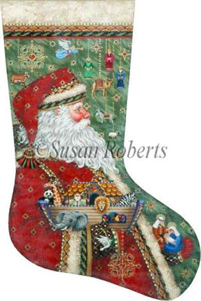 Santa's Ark and Nativity Hand Painted Needlepoint Stocking Canvas