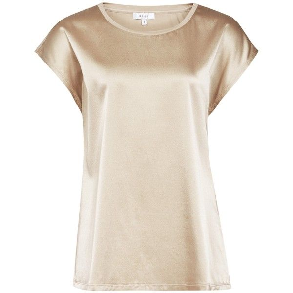 Reiss Ki Silk Front T-shirt (320 BRL) ❤ liked on Polyvore featuring tops, t-shirts, gold, pink silk top, cap sleeve tops, silk t shirt, pink top and reiss tops