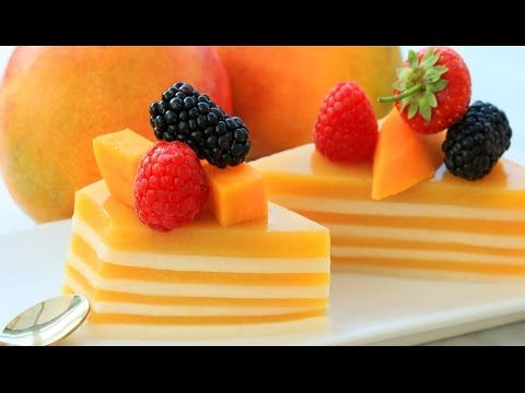 How It's Made Layered Jelly Cake   Mango Coconut Pudding Recipe (Agar Agar) - YouTube