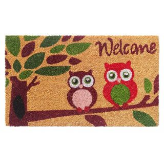 'Welcome' with Owls Coir Doormat | Overstock.com Shopping - The Best Deals on Door Mats