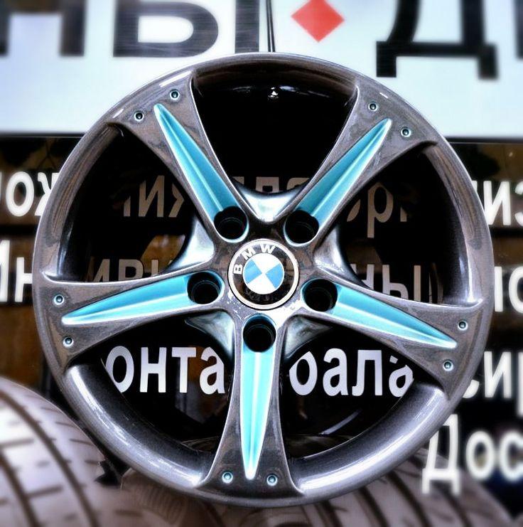Покраска дисков R-16 BMW дизайн от Маэстро #бмв  #r16 #candy #дискибмв  #голубойантрацит #спб  Савушкина 89