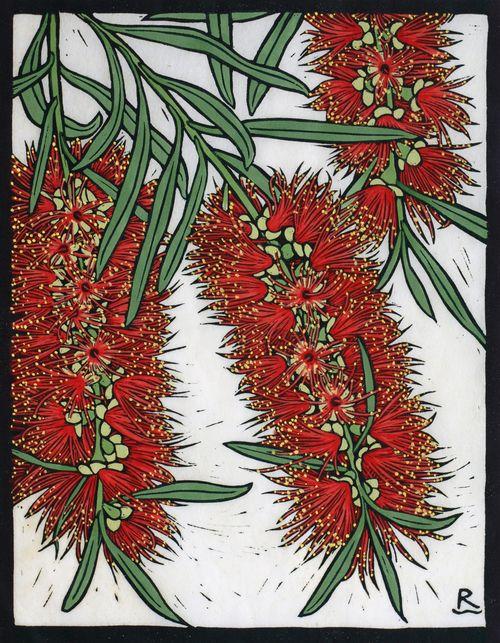 Rachel Newling: Bottle Brush, 28 x 22 cm    Edition of 50 Hand coloured linocut on handmade Japanese paper