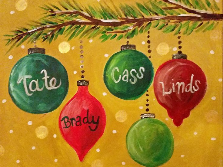christmas ornament branch canvas painting | girls paint night | things to do halifax elizabethville pa