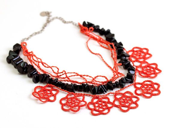 Chunky Onyx Necklace Layered Chic Poppy Vermilion by PinaraDesign, $46.00