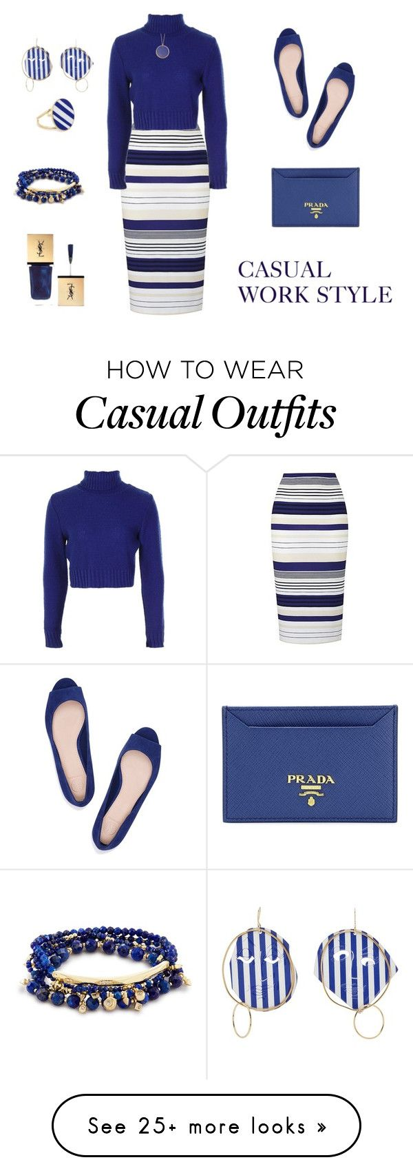 """CASUAL STRIPE WORK STYLE"" by rebeccadavisblogger on Polyvore featuring Boohoo, Tory Burch, Prada, J.W. Anderson, Joanna Laura Constantine, Astley Clarke and Christian Dior"