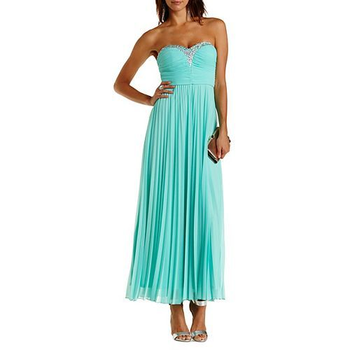 Jeweled & Ruched Strapless Maxi Dress: Charlotte Russe