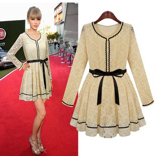 European Fashion Slim Lace Fashion Dress