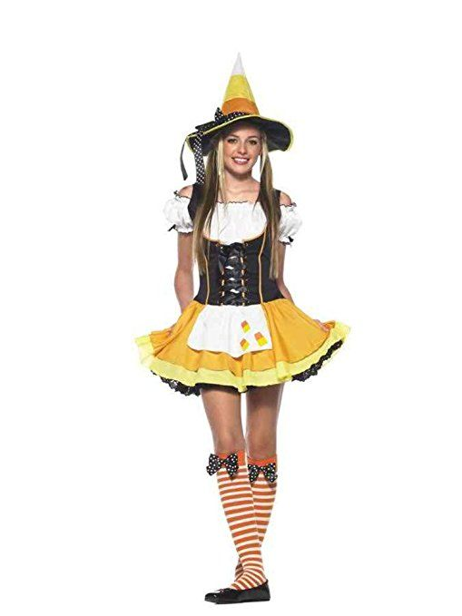 Teen Candy Corn Witch Costume - Candy Korn Witch Teen Costume A Classic Halloween Treat! Includes Dress with candy corn applique hat and stockings.  sc 1 st  Pinterest & 109 best Halloween stuff images on Pinterest   Halloween labels ...