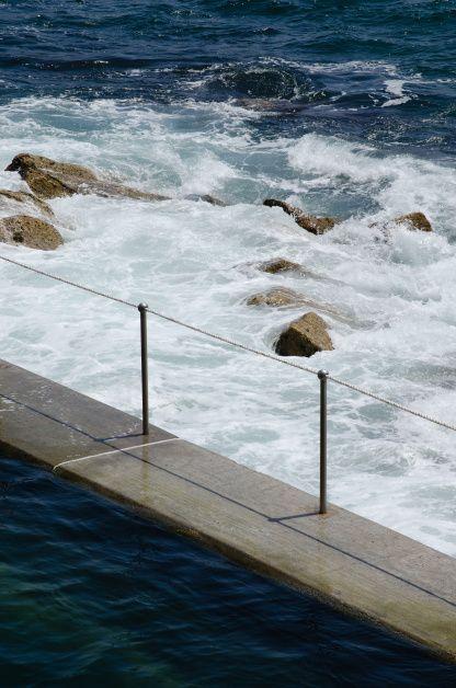 Bronte Beach, Sydney, Australia - waves crashing against the sea bath