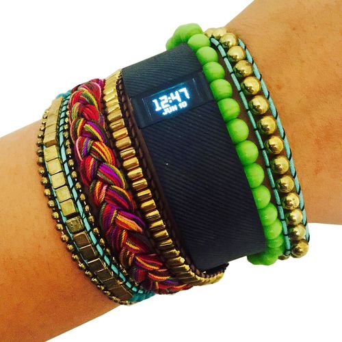 Shop the ROSIE Colorful Green Beaded Fitbit Bracelet to hide your Fitbit Charge…