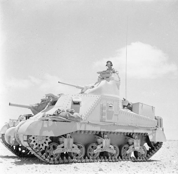 BRITISH ARMY NORTH AFRICA (E 14050)   Lee tank of 'C' Squadron, 4th (Queen's Own) Hussars, 2nd Armoured Brigade, El Alamein position, Egypt, 7 July 1942.