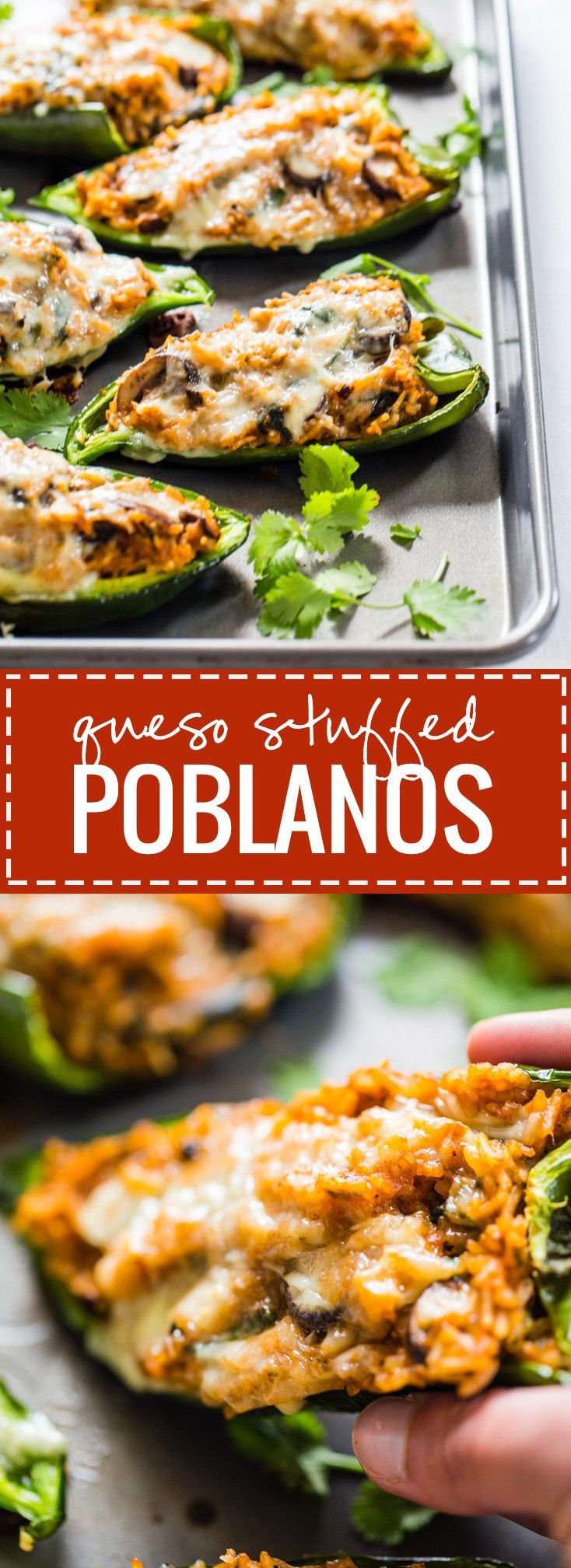 Queso Stuffed Poblanos recipe - Adaptable to whatever veggies or protein you have on hand. Easy vegetarian YUMS!