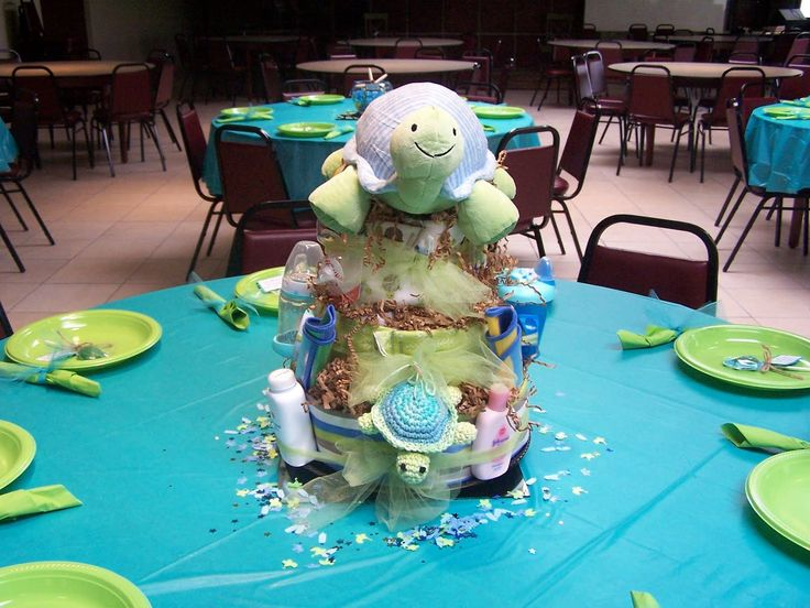 Elegant Baby Shower Cakes Ocean Theme | Turtle Themed Diaper Cake My Mom Made For  My Shower