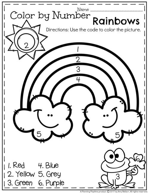 FREE Preschool Worksheet - Color by Number Spring Rainbow