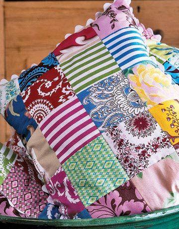 Patchwork Pillow of Fabric Scraps