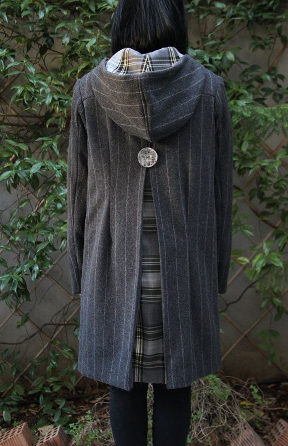 "Grey striped wool coat with checkered lining and coconut buttons by ""EatingTheGoober"""