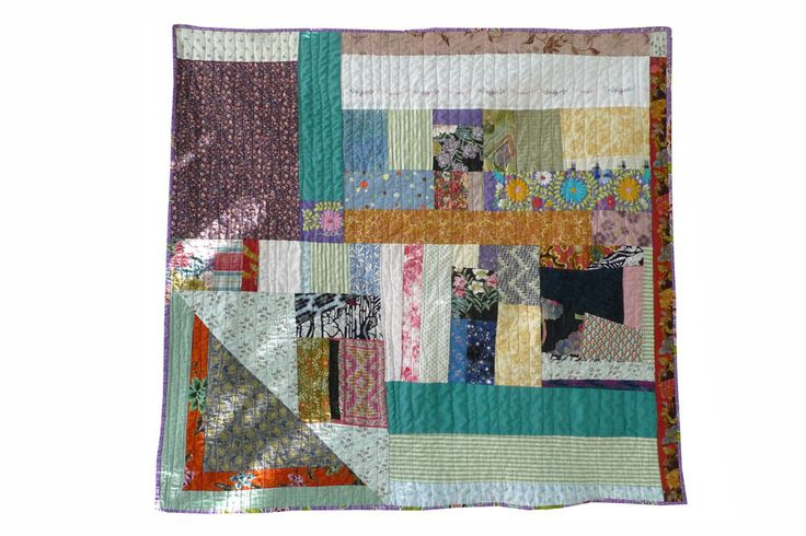 Pauline Boyd, HECHO QUILT, Counterpane, 42 in x 42 in. Made from cotton and linen sourced in the USA, Laos and Cambodia. Featuring Hmong embroidery, Mexican Huipil belonging to Vicki Rank, Indonesian batik and backed with a Cambodian printed sarong.