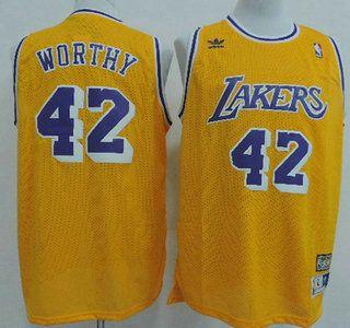 8daeaf9c9 Los Angeles Lakers Jersey 42 James Worthy Yellow Throwback Swingman Jerseys  ...