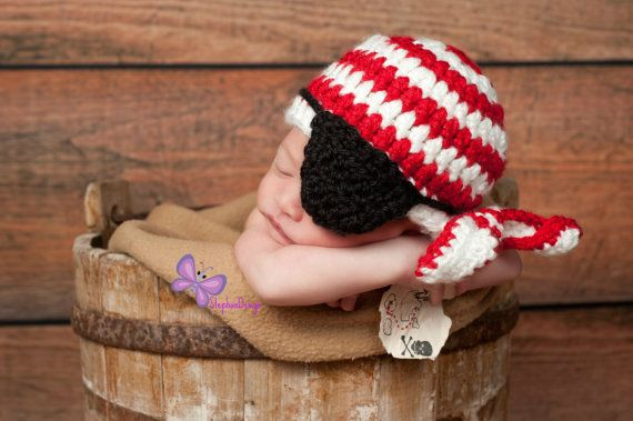 Baby Boy Hat Pirate Newborn bandanna ahoy matey by StephanDesign