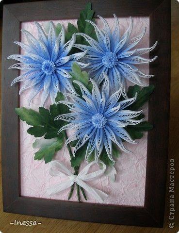 Картина, панно, рисунок Квиллинг: Хризантемы Бумажные полосы. Фото 1