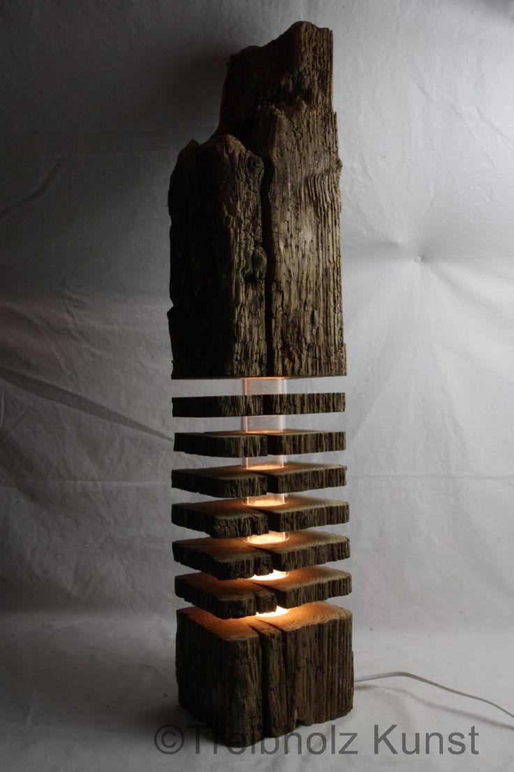 Tolle Leuchte aus Holz. Die Holzscheiben zaubern e…