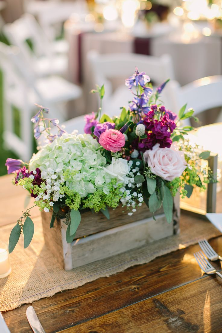 Rustic Hydrangeas And Purple Wildflower Centerpieces