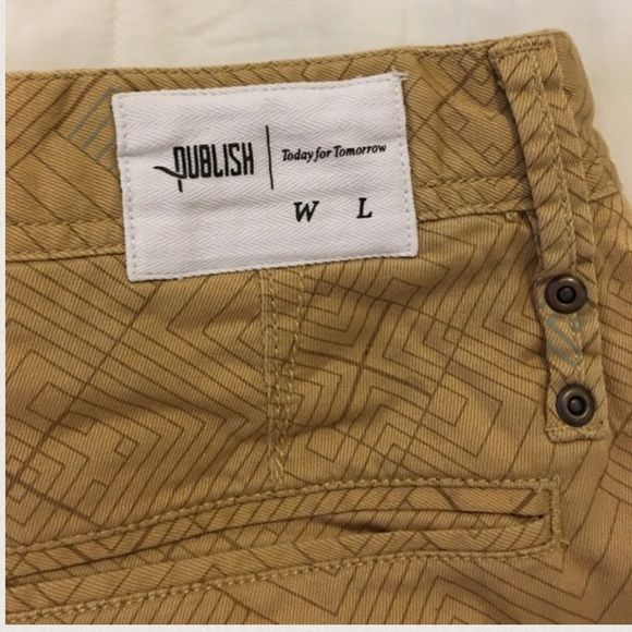 Printed Khaki Publish Jogger Pants Publish Jogger pants Men's size 32. My boyfriend bought them and grew out of them before he could wear them. Retails for $90. True to size. Elastic scrunched bottom. Dope pattern print khaki. Publish Pants Track Pants & Joggers