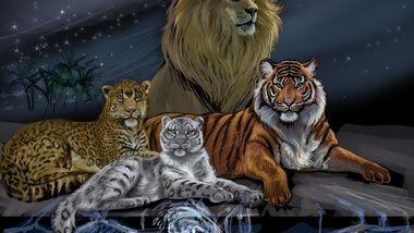 лев, грива, животные, живопись, взгляд, арт, хищники