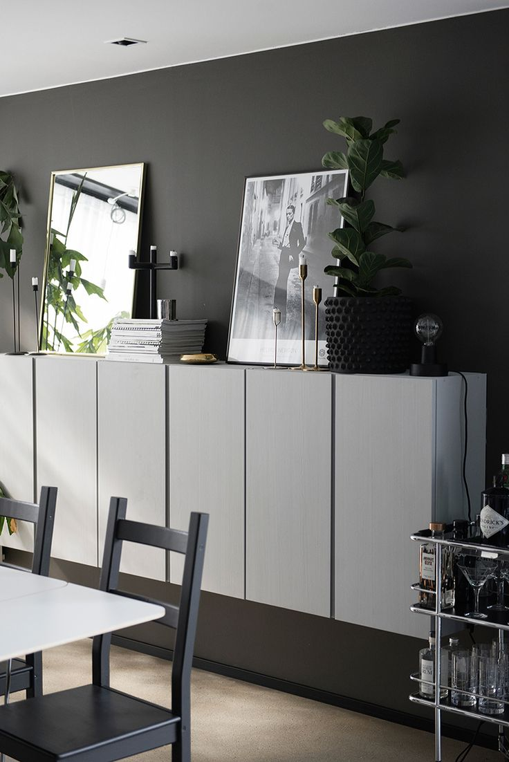 Charcoal Grey Walls And Wallmounted White Floating Cabinets From Ikea As A Credenza Inspiring