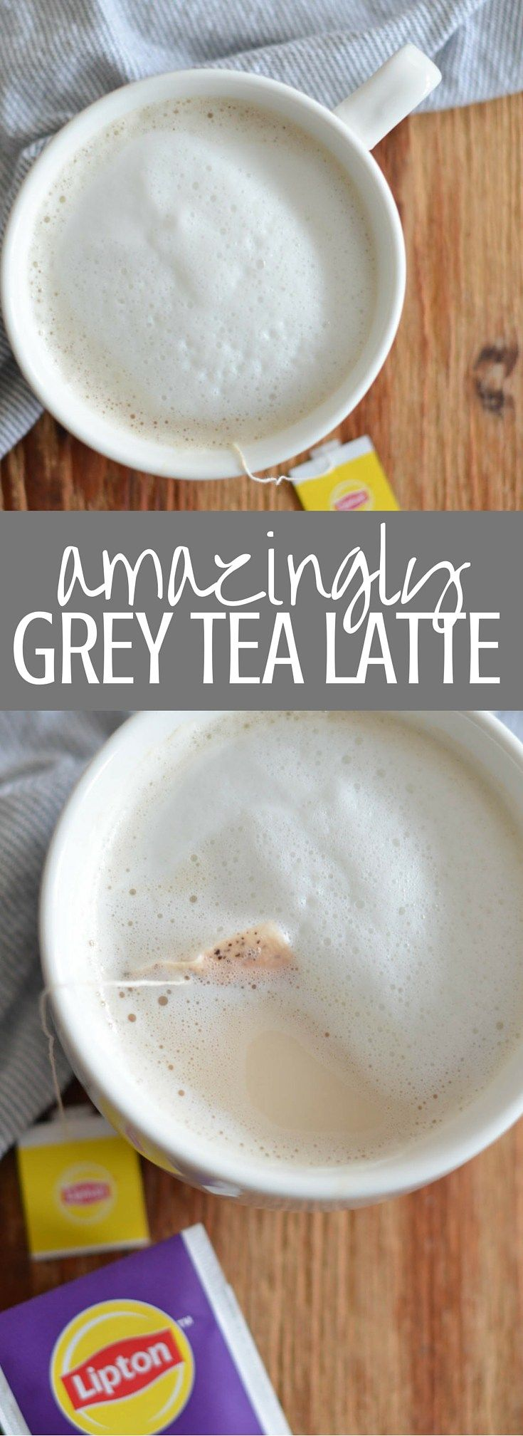 Amazingly Grey Tea Latte | My favorite way to get cozy on a winter afternoon! Lipton's Amazingly Grey Tea is blended with foamy milk and sweetened with a drop of honey for the perfect make it at home Grey Tea Latte. Pin for later and clickthrough for the full recipe! #LiptonTeaTime #Sponsored