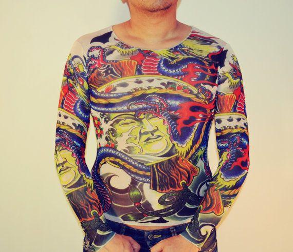 Tattoo T-Shirt Japanese YAKUZA Samurai & Blue Dragon Long Sleeved Men ...