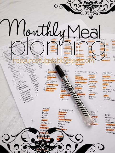 Monthly Meal Planning | by The Resourceful Gals