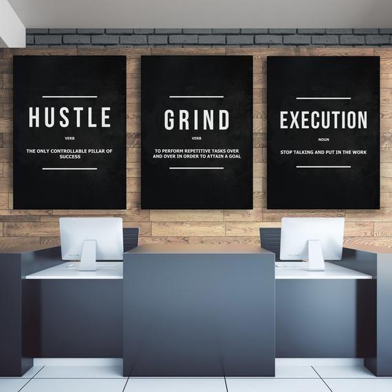 3 Piece Motivational Wall Art Canvas Prints Office Decor Etsy Motivational Wall Art Wall Art Canvas Prints Canvas Wall Art