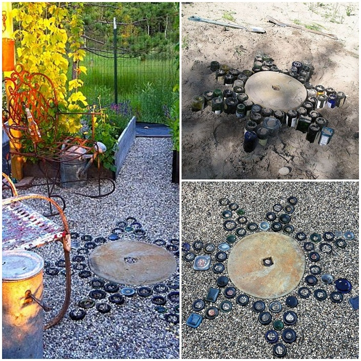 47 best images about recycled glass bottles on for Recycled garden ideas pinterest