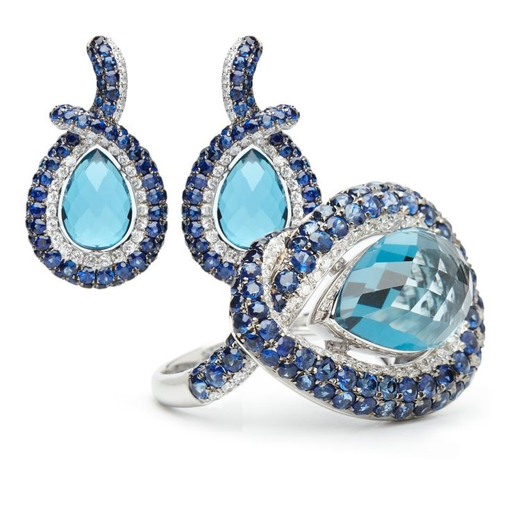 18ct Solid White Gold Cocktail Ring and Earring Set,Natural London Blue Topaz, Sapphire and Diamonds