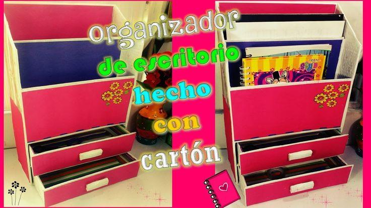 Organizador para escritorio hecho con cartón - DIY MANUALIDADES