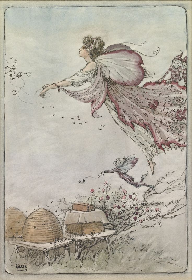 A. DUNCAN CARSE 1874 - 1938 SPIRIT OF THE BEE-HIVE Signed Carse (lower left) Watercolor over pen and ink on paperboard 9 3/8 by 6 1/4 in. 24...